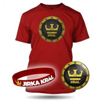 Triko Jirka Král červené v sadě s náramkem a plackou