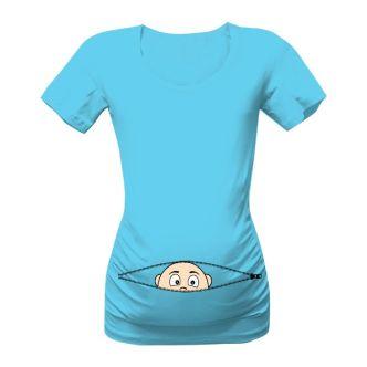 Těhotenské triko kuk z bříška kluk