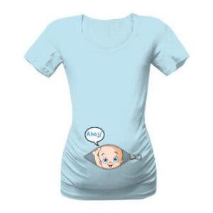 Těhotenské tričko s potiskem Ahoj mimi
