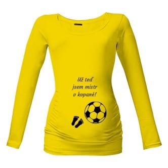 Těhotenské tričko s potiskem Mistr v kopané