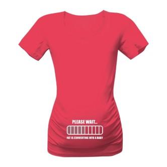 Těhotenské tričko s potiskem Converting into baby