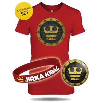 Set červené dámské tričko Jirka Král s náramkem a plackou