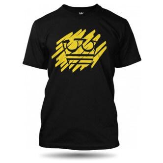 Černé tričko Jirka Král se žlutou korunou