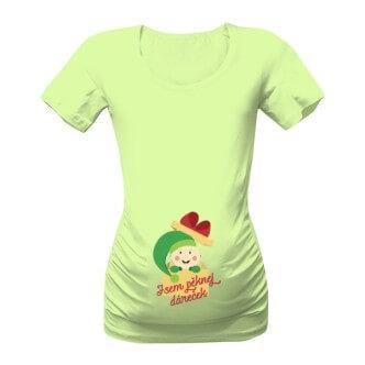 Těhotenské tričko s potiskem Jsem pěknej dáreček kluk