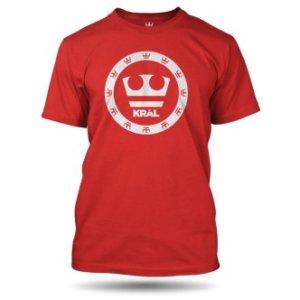 Červené tričko Jirka Král s potiskem bílé korunky