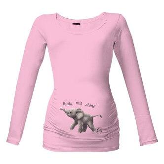Těhotenské tričko s potiskem Budu mít slůně