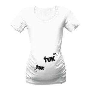 Těhotenské tričko s potiskem Ťuk ťuk