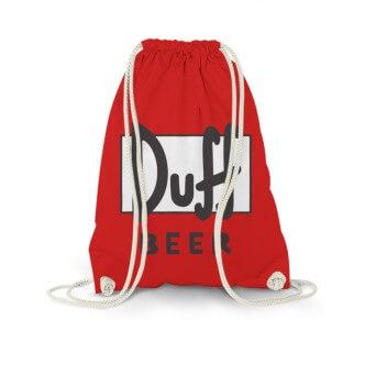 Červený bavlněný vak s potiskem Duff Beer