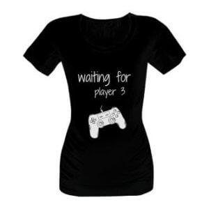 Těhotenské tričko s potiskem Waiting for player 3