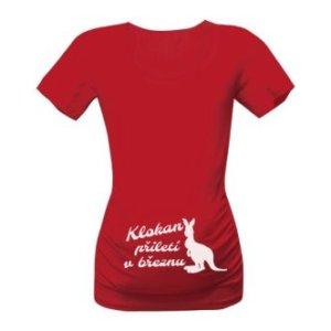 Těhotenské tričko s potiskem Klokan přiletí v březnu