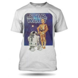 Tričko s potiskem Star Wars roboti C3PO a R2D2