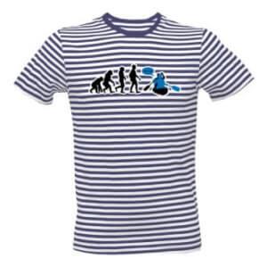 Pruhované tričko s potiskem Evoluce vodák