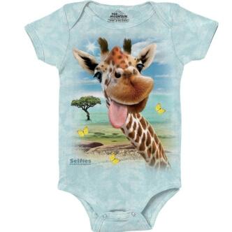 Dětské body s potiskem Selfie žirafa