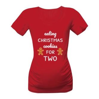 Těhotenské tričko s potiskem Eating christmas cookeis for two