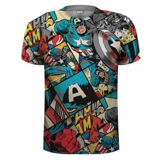 Tričko s potiskem Marvel Comics Captain America Comic Strip