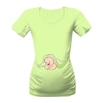 Těhotenské tričko s potiskem Kuk, jsem tady