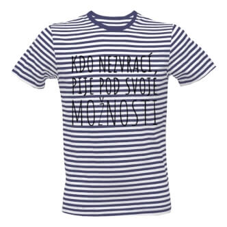 Pruhované tričko s potiskem Kdo nezvrací, pije pod svoje možnosti