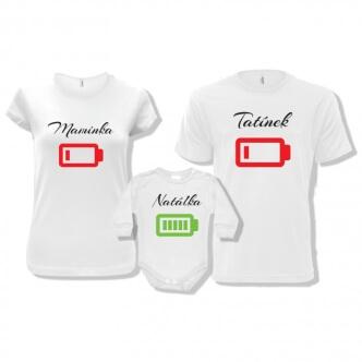 Rodinná trička s potiskem Vybité baterky