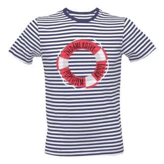 Pruhované tričko s potiskem Zvedáme kotvy