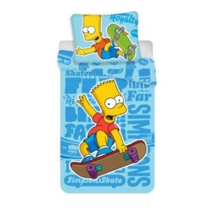 Dětské bavlněné povlečení s potiskem Bart Simpson 140x200 modré