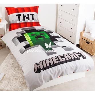 Dětské bavlněné povlečení s potiskem Minecraft 140x200 šedé
