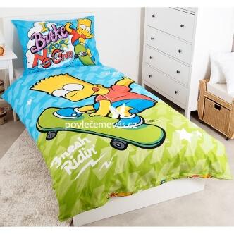 Dětské bavlněné povlečení s potiskem Bart Skate 140x200