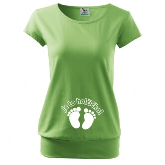 Těhotenské tričko s potiskem Je to holčička