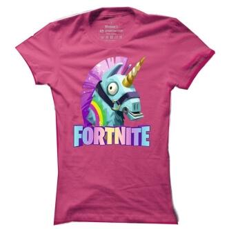 Dámské tričko s potiske Fortnite lama jednorožec