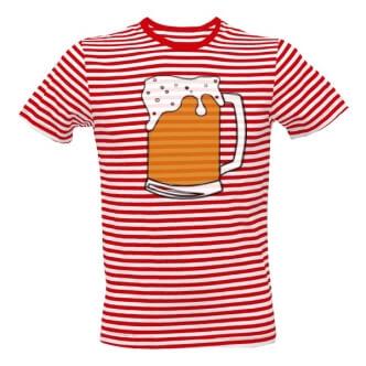 Pruhované tričko s potiskem Pivní námořník