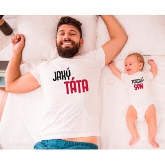 Dětské body a pánské tričko s potiskem Jaký táta takový syn