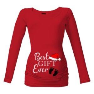 Vánoční těhotenské tričko s potiskem Best gift ever