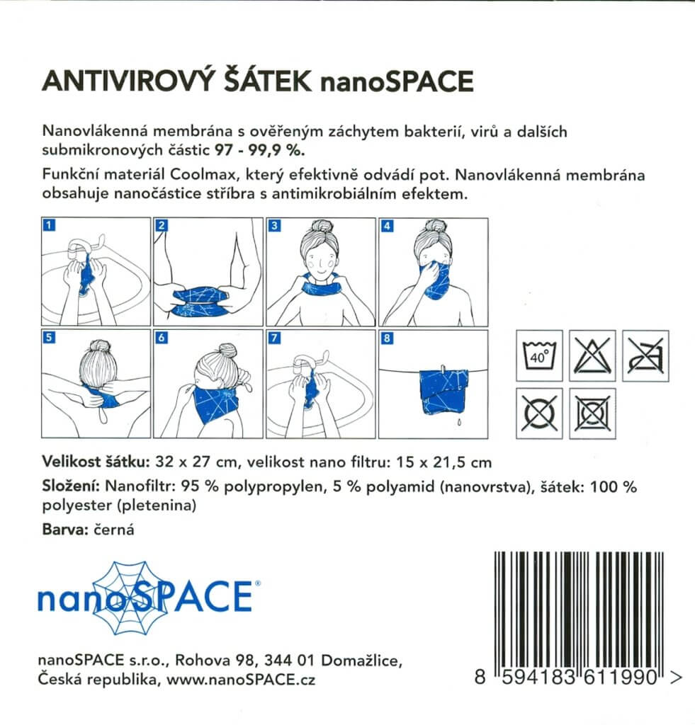 Antivirový šátek nanoSPACE návod na použití