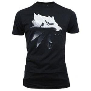 Tričko s potiskem Zaklínač Wolf Silhouette