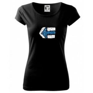 Dámské tričko s potiskem Turistická šipka modrá