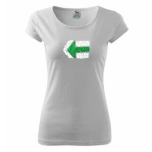 Dámské tričko s potiskem Turistická šipka zelená