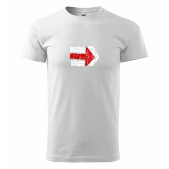 Pánské tričko s potiskem Turistická šipka červená