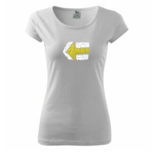 Dámské tričko s potiskem Turistická šipka žlutá