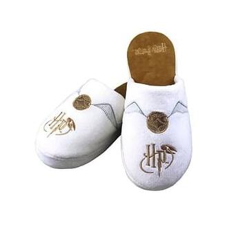 Bílé pantofle Harry Potter se zlatonkou a iniciálami HP