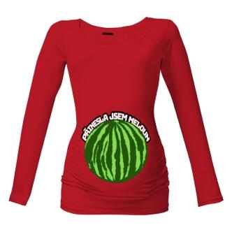 Těhotenské tričko s potiskem Přinesla jsem meloun